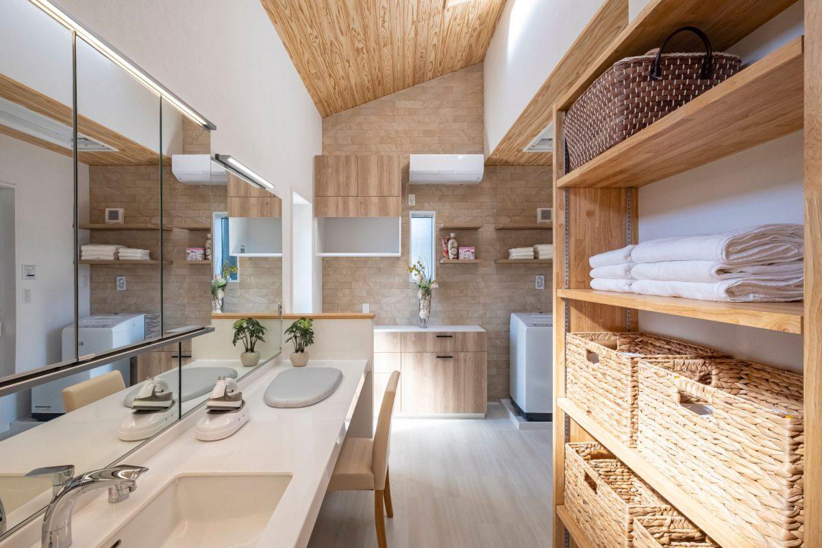 快乾空間 静岡市葵区瀬名 清水区 三和建設 ランドリー サニタリー 洗濯室 室内干し
